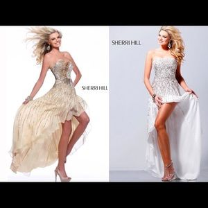 Sherri Hill gold champagne sequin prom dress